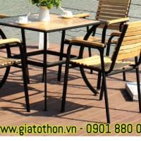 bàn ghế gỗ ngoài trời cafe