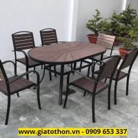 bàn ghế ngoài trời nhựa giả gỗ