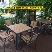 bàn ghế ngoài trời nan nhựa composite bàn vuông