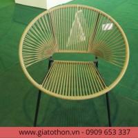 bàn ghế nhựa mây hình tròn