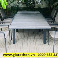 bàn ghế ngoài trời mặt gỗ xếp rút