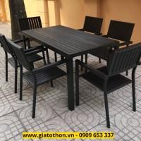 bàn ghế ngoài trời mặt composite màu đen
