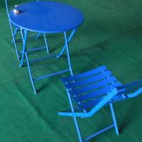 Bàn ghế nhôm màu xanh ngoài trời