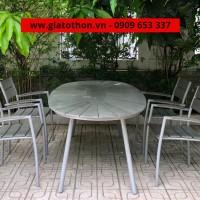 bàn ghế nhôm ngoài trời hình oval