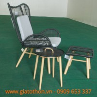 bàn ghế nhựa giả mây 3 món