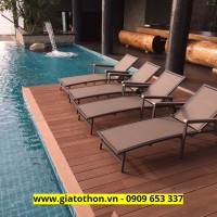 ghế hồ bơi khung sắt vải textilene sang trọng