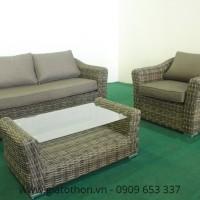 Sofa mây nhựa màu nâu trầm