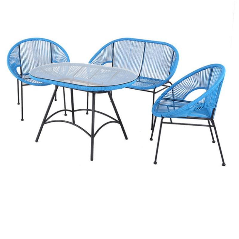 Bàn ghế  nhựa mây  05
