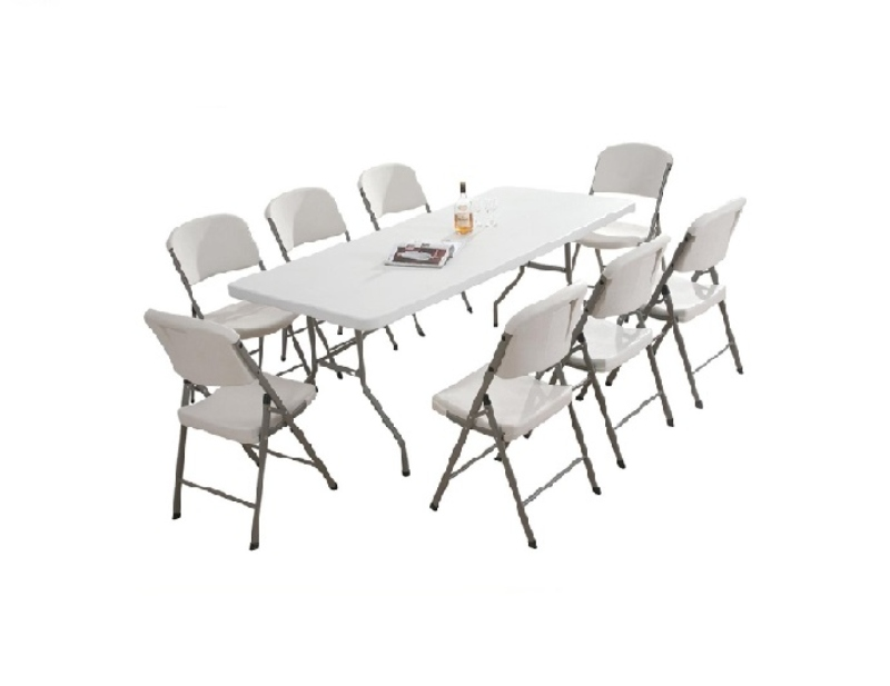 Bộ bàn ghế giả ngoại bằng nhựa màu trắng